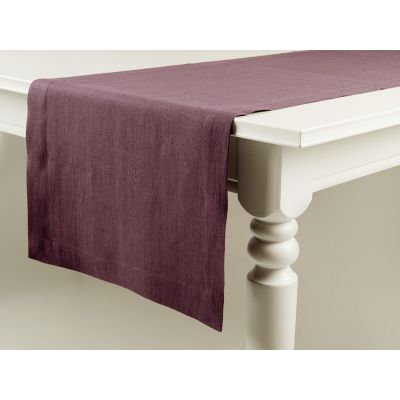 Linen table runner Eggplant 40x240cm