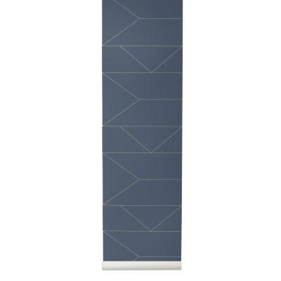 Lines Wallpaper - Set of 2 Rolls Dark Blue