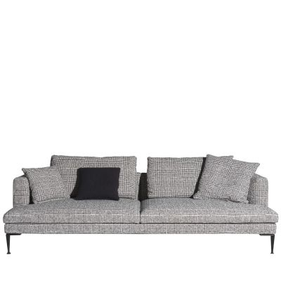 Lirico Four-Seater Sofa Black, Cairo - Bianco 01