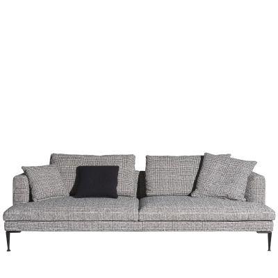 Lirico Four-Seater Sofa Black, Cairo - Bianco 01