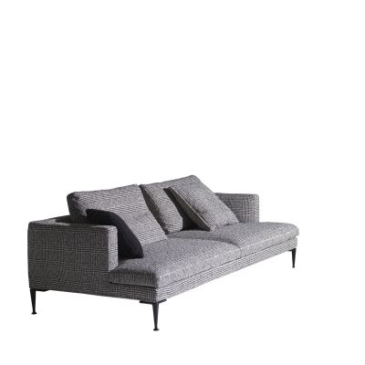 Lirico Three-Seater Sofa Black, Cairo - Bianco 01