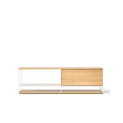 LOP003 Literatura Open Sideboard White Open Pore Lacquered On Oak, Beige Textured Metal (ral 1019)