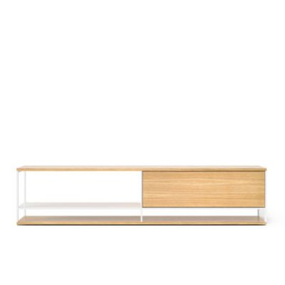LOP005 Literatura Open Sideboard White Open Pore Lacquered On Oak, Beige Textured Metal (ral 1019)
