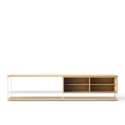 LOP006 Literatura Open Sideboard White Open Pore Lacquered On Oak, Beige Textured Metal (ral 1019)