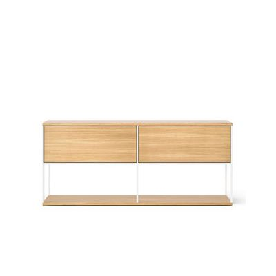 LOP104 Literatura Open Sideboard White Open Pore Lacquered On Oak, Beige Textured Metal (ral 1019)