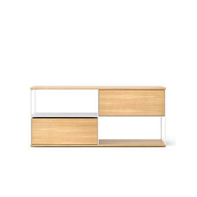 LOP105 Literatura Open Sideboard White Open Pore Lacquered On Oak, Beige Textured Metal (ral 1019)