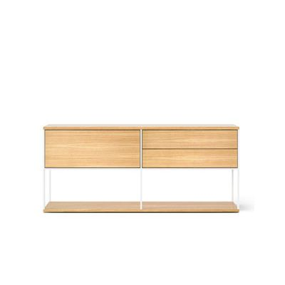 LOP106 Literatura Open Sideboard White Open Pore Lacquered On Oak, Beige Textured Metal (ral 1019)