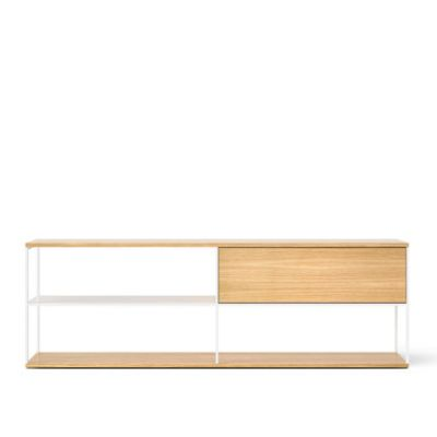 LOP108 Literatura Open Sideboard White Open Pore Lacquered On Oak, Beige Textured Metal (ral 1019)