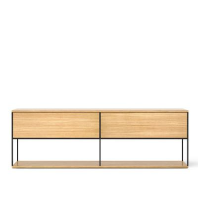 LOP109 Literatura Open Sideboard White Open Pore Lacquered On Oak, Beige Textured Metal (ral 1019)