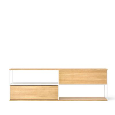 LOP110 Literatura Open Sideboard White Open Pore Lacquered On Oak, Beige Textured Metal (ral 1019)
