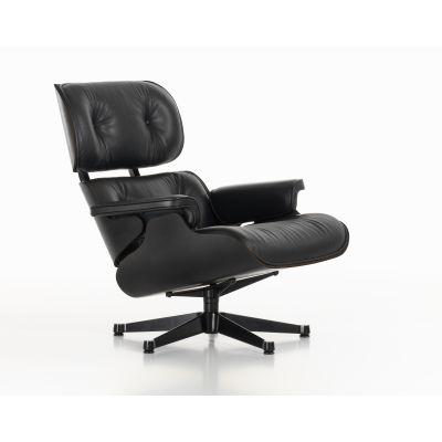 Eames Lounge Chair Nero New Dimension, Leather Premium nero, 04 glides for carpet