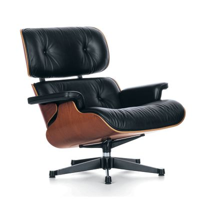 Eames Lounge Chair New Dimension, Chromed, Cherry, 04 glides for carpet, Leather Grand 72 snow