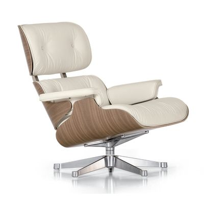 Eames Lounge Chair Snow New Dimension, Leather Premium Snow 05, 04 glides for carpet