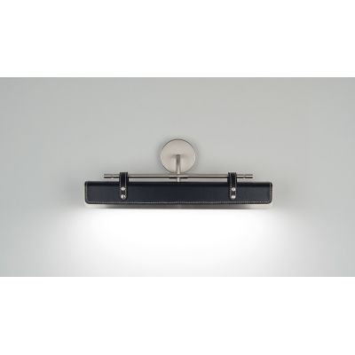 Luxoline V Wall Light Satin Nickel, Black Leather