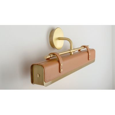 Luxoline V Wall Light Satin Brass, Natural Leather