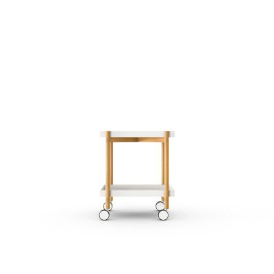 Mai Tai Trolley White Texturised Lacquered, Super-Matt Oak