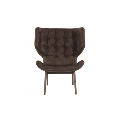 Mammoth Fluffy Chair Wool - Coal, Wood Dark Stained