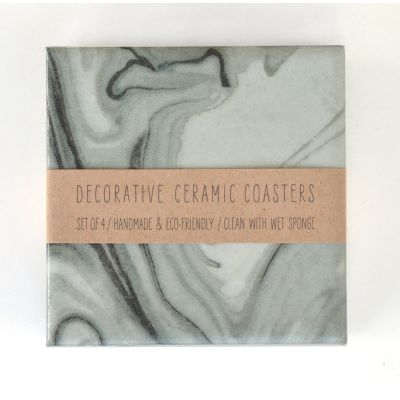 Marbelized Pattern Grey Ceramic Coasters