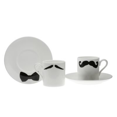 Maurice Poirot Moustache Espresso Cup and Saucer Set