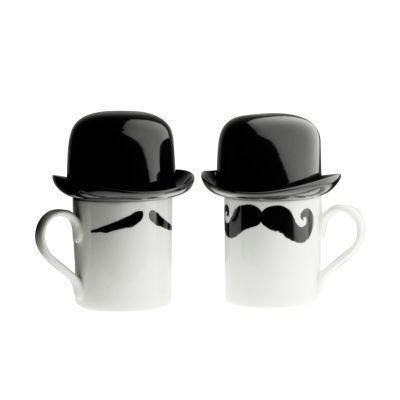 Maurice Poirot Moustache Mug with Sugar Bowl Top Hat