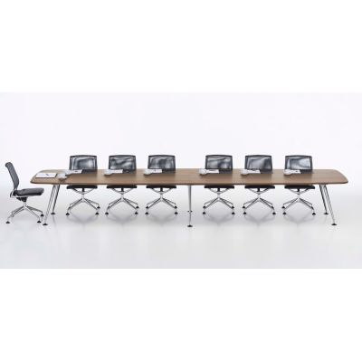 MedaMorph Boat-Shaped Conference Table 440x140 melamine soft light, not provided