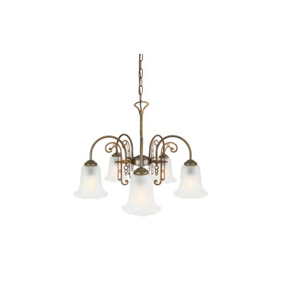 Medan 5 Arm Chandelier Polished Brass