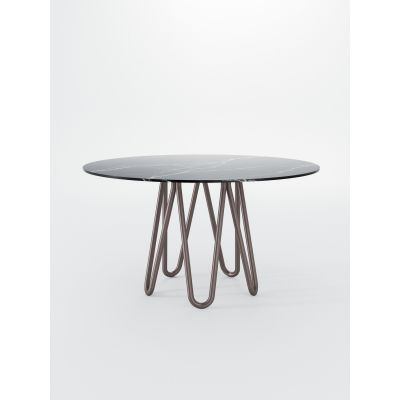 Meduse Dining Table Black and Glass smoked