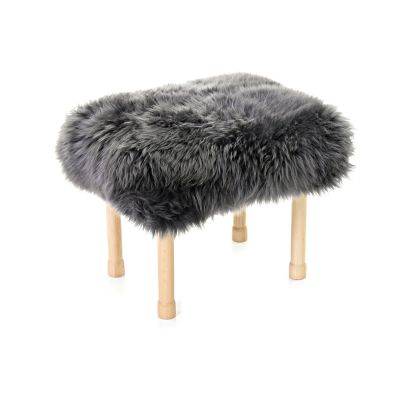Megan Sheepskin Footstool Slate Grey