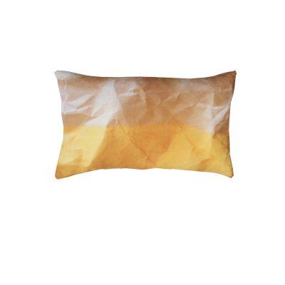 Mello Yellow Crinkled Paper Print Rectangular Cushion