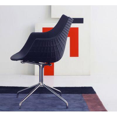 Meridiana Swivel Low Stool Upholstered Chrome, Tigri - Arancione 5360