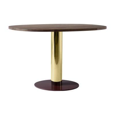 Mezcla JH22 Dining Table Walnut, Brass & Burgundy