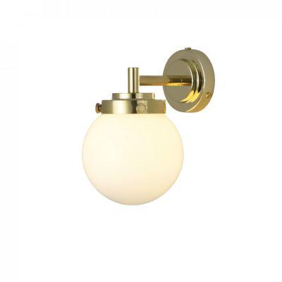 Mini Globe Wall Light Polished Brass, Opal