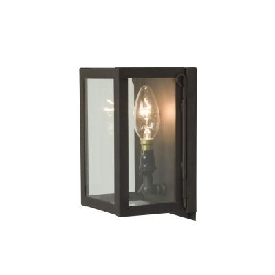 Miniature Box Wall Light 7643 Weathered Brass, Clear Glass