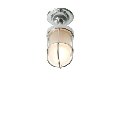 Miniature Ship's Well Glass Ceiling Light 7204 Chrome, Frosted glass