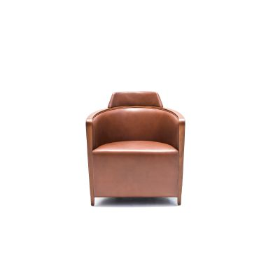 Miss Armchair B0211 - Leather Oil cirè, Walnut Stained Feet