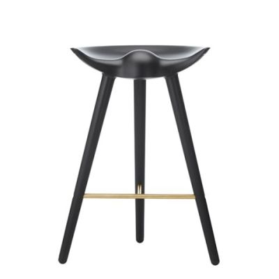 ML42 Counter Stool Black Stained Beech /Brass