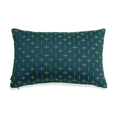 Modern Kantha Cushion Teal Rectangle Cushion 40 x 60cm
