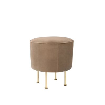 Modern Line Pouffe Gubi Leather Black, 80, Frame Brass