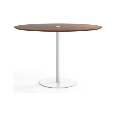 Núcleo Dining Table, Round White Textured Metal, Super-matt Oak, 80