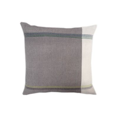 TYNDALL organic cotton hand embroidered charcoal white stripe square