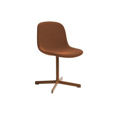 Neu10 Upholstered Chair, Orange Base Leather Silk SIL0197 Cream