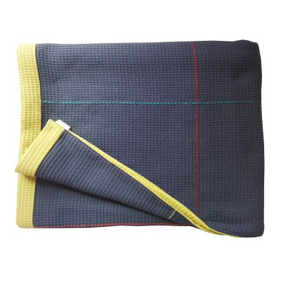 NEWMAN hand embroidered navy olive reverse throw