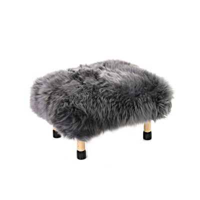 Nia Sheepskin Footstool Slate Grey