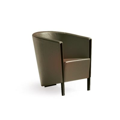 Novecento Small Armchair B0211 - Leather Oil cirè, Dark Stained Beech Feet