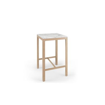 Nuda High Square Table 70, Oak Natural, Matching wooden top