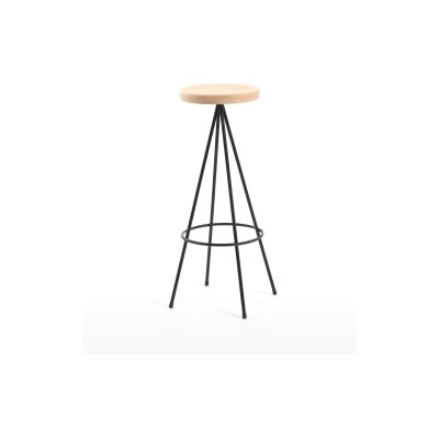 Nuta Bar Stool Black Frame and Beech Seat, 75 cm