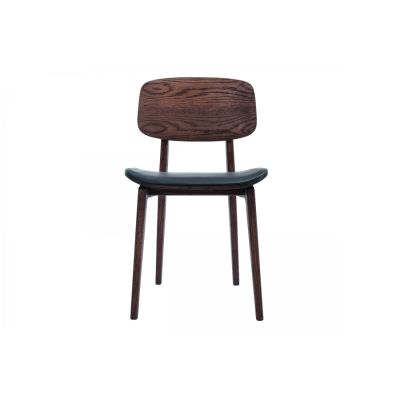 NY11 Dining Chair, Leather Seat Walnut Frame