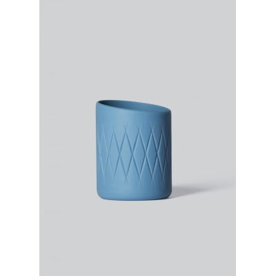Oblique Tea Light Holder Steel Blue