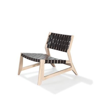 Odhin Lounge Chair Walnut Natural, Kenia Leather Denim