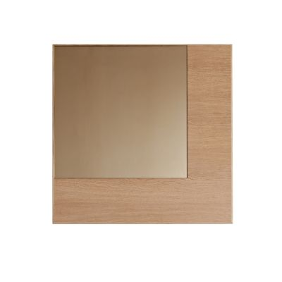 Offset Mirror Square Amber Mirror, Oak